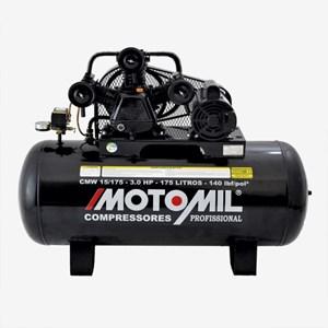 Compressor CMW 15 / 175 Litros 140 Libras 3 CV Monofásico Motomil