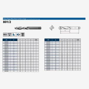 Fresa Topo Reto 1-40,00mm 2 Cortes HSS-Co Longa DIN 844 801/2 OSG