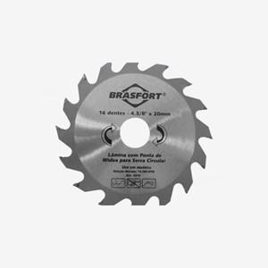 Serra Circular Para Madeira Lâmina Com 12 Dentes De Widea 4 3/8 Polegadas Furo 20mm Brasfort 8314